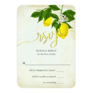 Tarjeta Limones amarillos rústicos RSVP que se casa floral