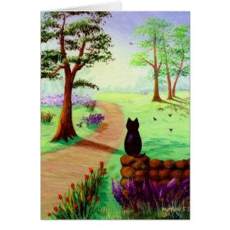 Tarjeta linda Creationarts del gato negro