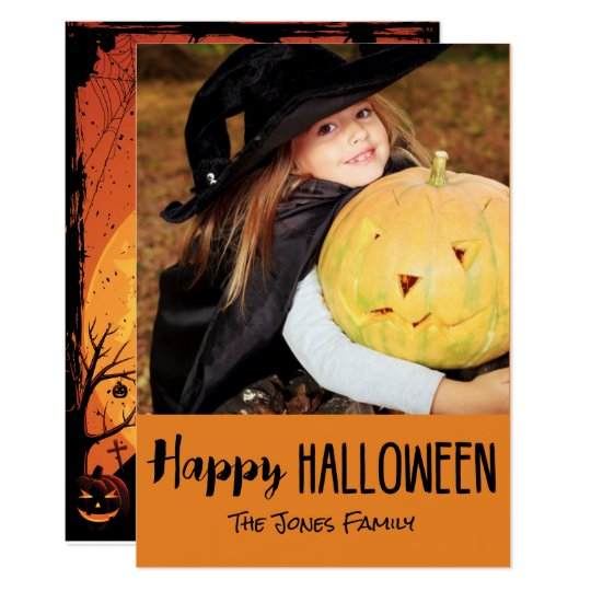 Tarjeta linda de la foto de Halloween de la casa Invitación 12,7 X 17,8 Cm