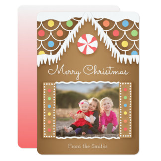 Tarjeta linda de la foto del navidad de la casa de