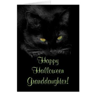 Tarjeta linda de la nieta de Halloween del gato