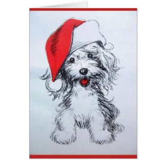 Tarjeta linda del bosquejo de Santa del perrito