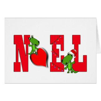 Tarjeta linda del cocodrilo del corazón de Noel en