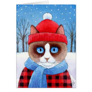 Tarjeta linda del invierno del navidad del gato