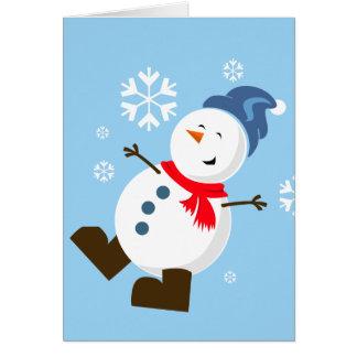 Tarjeta linda del muñeco de nieve