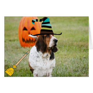 Tarjeta linda, divertida de Halloween con la bruja