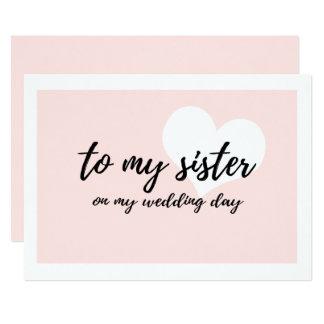 """Tarjeta Lindo """"a mi hermana en mi día de boda """""""