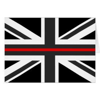 Tarjeta Línea roja fina bandera de Reino Unido