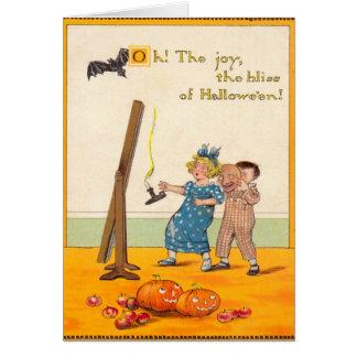 Tarjeta Linterna linda de Jack O de la broma de los niños