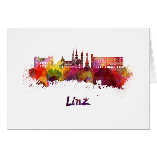 Tarjeta Linz skyline in watercolor