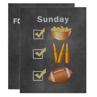 Tarjeta Lista de control divertida del fútbol de domingo