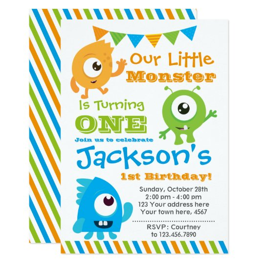 Tarjeta Little Monster Invitation, 1st birthday party