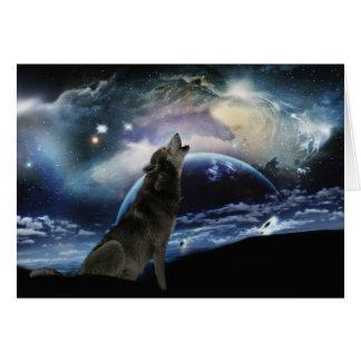 Tarjeta Lobo que grita en la luna