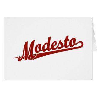 Tarjeta Logotipo de la escritura de Modesto en rojo
