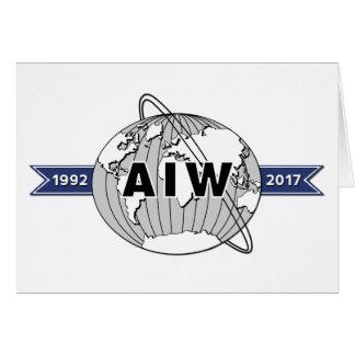 Tarjeta Logotipo grande 5x7 del aniversario de AIW 25to