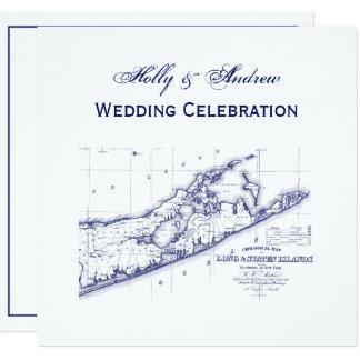 Tarjeta Long Island el boda SQ del mapa de Hamptons