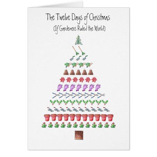 Tarjeta Los 12 días del jardinero de navidad