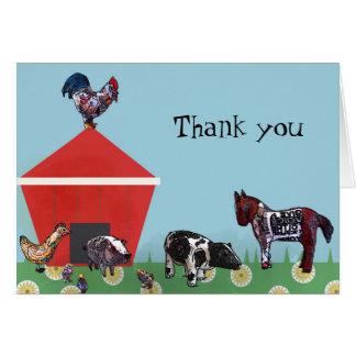 Tarjeta Los amigos de la granja le agradecen observar