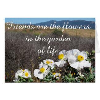 Tarjeta Los amigos son las flores