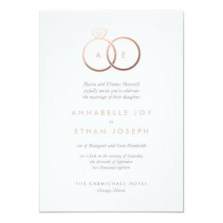 Tarjeta Los anillos de oro color de rosa modernos se