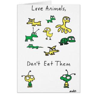 Tarjeta Los animales del amor de Moby, no los comen
