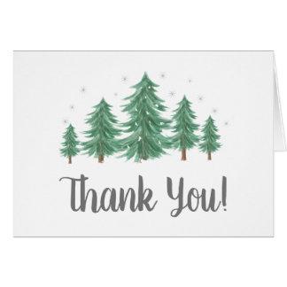 Tarjeta Los árboles de pino del invierno le agradecen