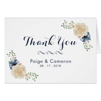 Tarjeta Los azules añiles y el boda floral beige le