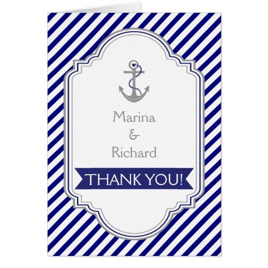 Tarjeta Los azules marinos anclan el boda náutico le