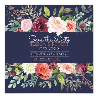 Tarjeta Los azules marinos florales elegantes ahorran la