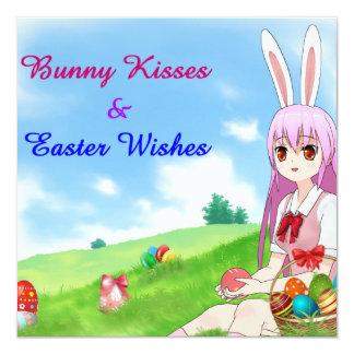 Tarjeta Los besos y Pascua del conejito desea (el