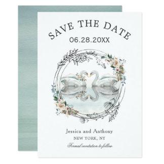 Tarjeta Los cisnes románticos del boda ahorran la fecha