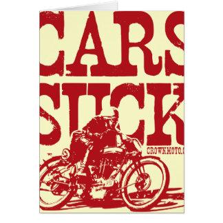 Tarjeta Los coches chupan (el rojo del vintage)