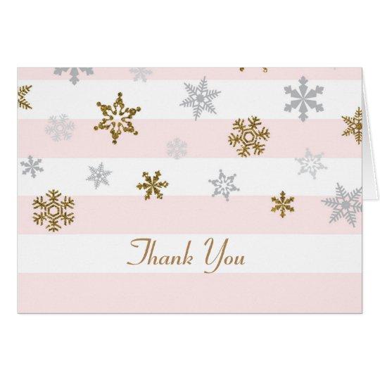 Tarjeta Los copos de nieve rosados del oro le agradecen