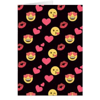 Tarjeta los corazones dulces lindos del amor del emoji