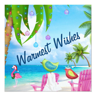 Tarjeta Los deseos más calientes, pájaros, palmeras,