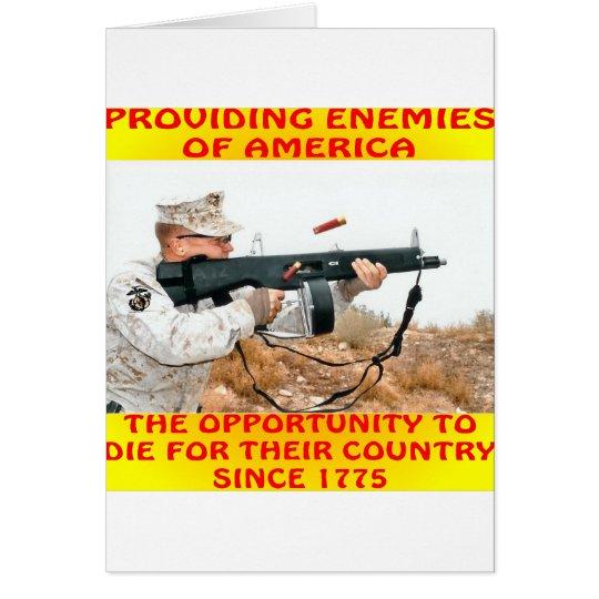 Tarjeta Los enemigos de América mueren por su país 1775