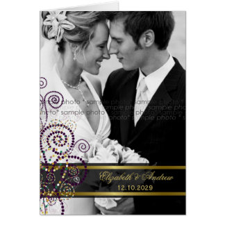 Tarjeta Los espirales púrpuras de Boho que casan la foto