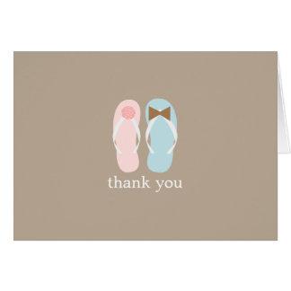 Tarjeta Los flips-flopes del boda doblados le agradecen