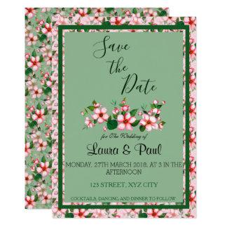 Tarjeta Los flores ahorran la carta rosada y verde de la