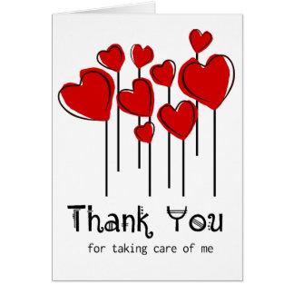 Tarjeta Los globos rojos del corazón le agradecen cuidar