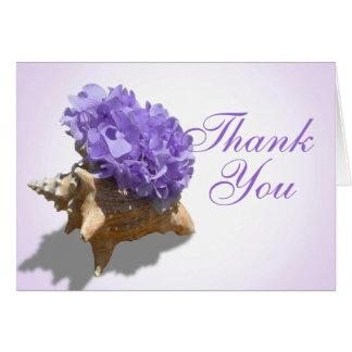 Tarjeta Los Hydrangeas púrpuras de la costa le agradecen