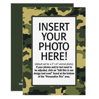 Tarjeta los militares camuflan cumpleaños con la foto