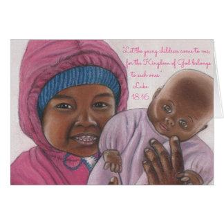 Tarjeta Los niños vienen a Me~Scripture~Baby