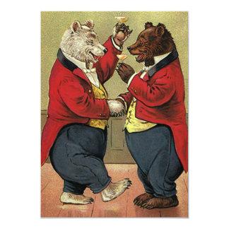 Tarjeta Los osos del baile del Victorian del vintage