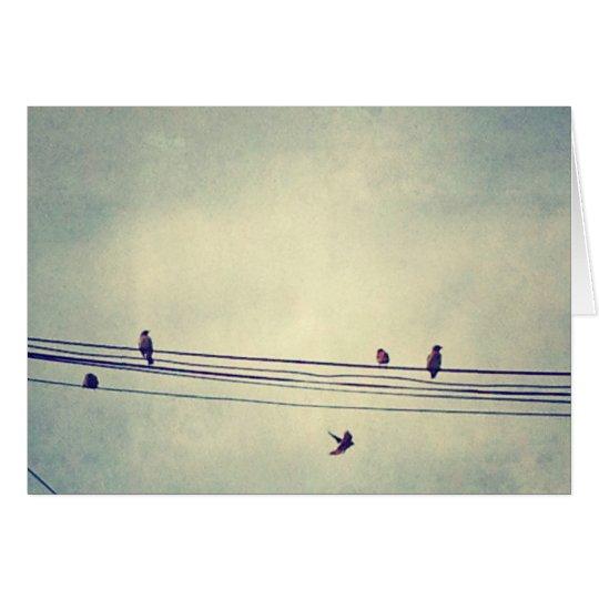 Tarjeta Los pájaros en un alambre - esconda dentro