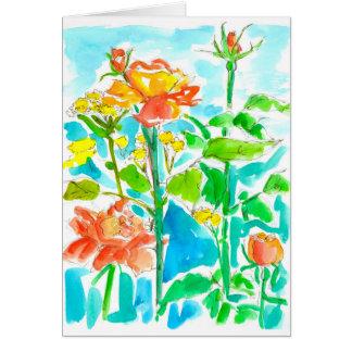 Tarjeta Los rosas amarillo-naranja de la acuarela le