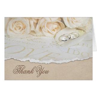 Tarjeta Los rosas blancos del boda le agradecen