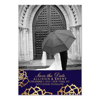 Tarjeta Los rosas de oro ahorran la fecha - azul