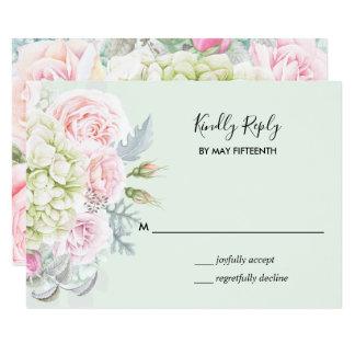 Tarjeta Los rosas florales elegantes del vintage ponen
