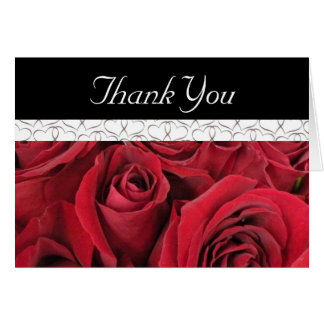 Tarjeta Los rosas rojos y los corazones le agradecen